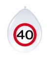 Ballonnen 40 jaar verkeersbord 30 cm