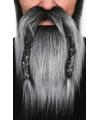 Grijze baard met gevlochten snor