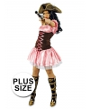Grote maat carnavals musketiers jurk roze