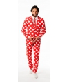 Rode business suit met hartjes print
