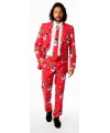Rode business suit met kerst print