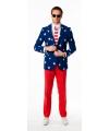 Heren kostuum met USA vlag print