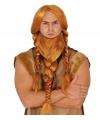 Luxe viking pruik rood met gevlochten baard