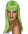 Groene pruik met pony stijl haar