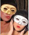 Glitter oogmasker in goud- of zilverkleur