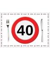 Wegwerp placemats 40 jaar 10 stuks