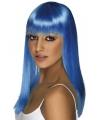 Lange Dames pruik neon blauw