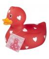 Rode badeend valentijnsdag 25 cm