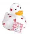 Witte badeend valentijnsdag 25 cm